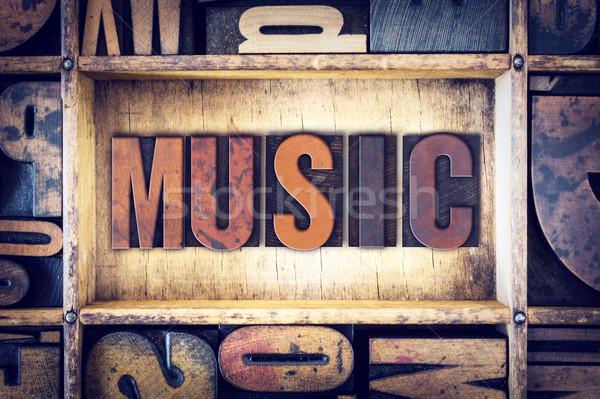 Música tipo palabra escrito vintage Foto stock © enterlinedesign
