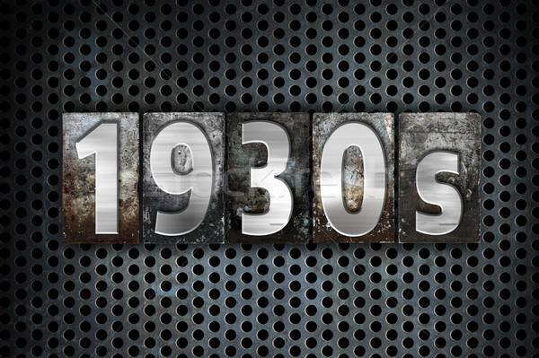 1930-as évek fém magasnyomás szó írott Stock fotó © enterlinedesign