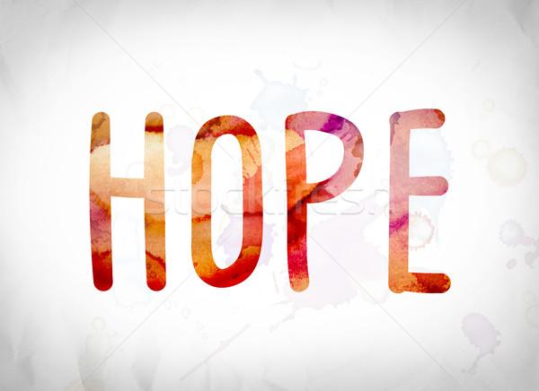 Remény vízfesték szó művészet írott fehér Stock fotó © enterlinedesign