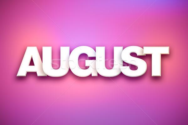 ストックフォト: 8月 · 言葉 · 芸術 · カラフル · 書かれた · 白