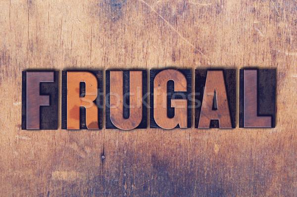 Zuinig woord hout geschreven vintage Stockfoto © enterlinedesign