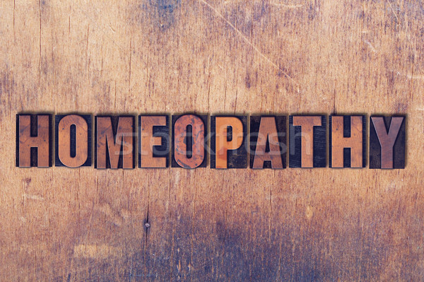 Homeopathie woord hout geschreven vintage Stockfoto © enterlinedesign