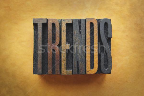 Trendek szó írott klasszikus magasnyomás Stock fotó © enterlinedesign