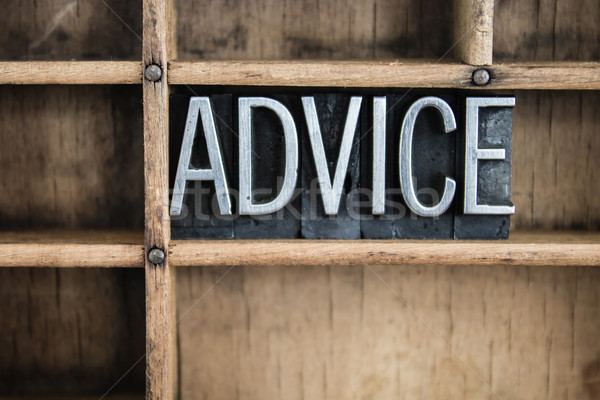 Advice Concept Metal Letterpress Word in Drawer Stock photo © enterlinedesign