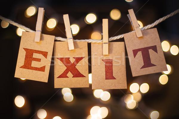 çıkmak kartları ışıklar kelime basılı clothespin Stok fotoğraf © enterlinedesign