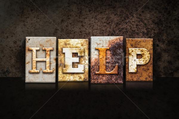 Helpen donkere woord geschreven roestige Stockfoto © enterlinedesign