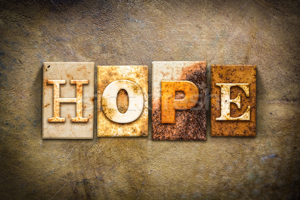 Hope Concept Letterpress Leather Theme Stock photo © enterlinedesign