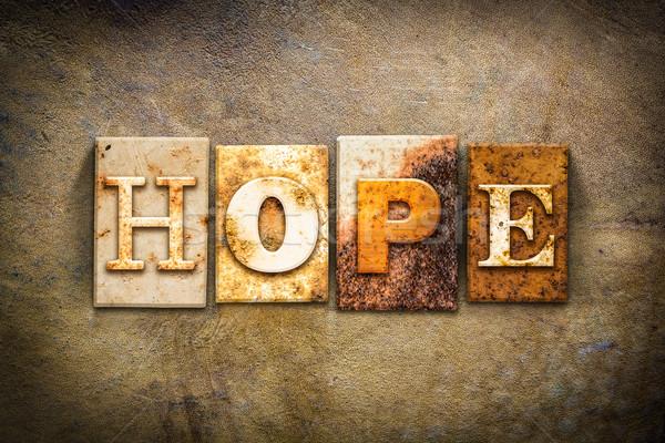 Foto stock: Esperança · couro · palavra · escrito · enferrujado