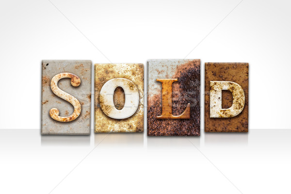 Sold Letterpress Concept Isolated on White Stock photo © enterlinedesign