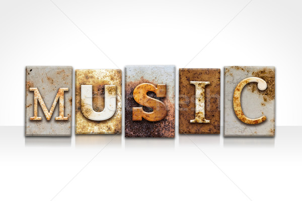 Music Letterpress Concept Isolated on White Stock photo © enterlinedesign