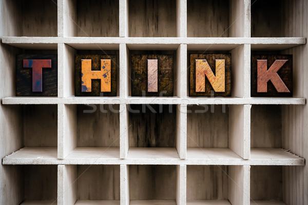 ストックフォト: と思います · 木製 · タイプ · 言葉