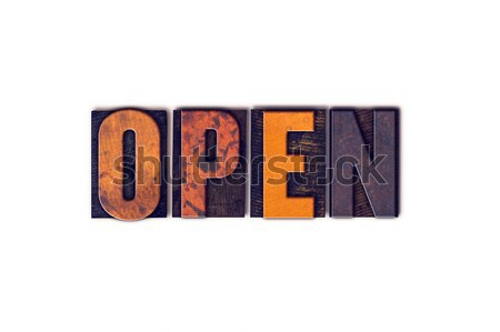 Open Concept Isolated Letterpress Type Stock photo © enterlinedesign