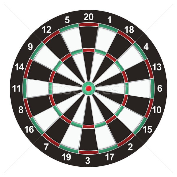 Valósághű darts tábla illusztráció izolált fehér Stock fotó © enterlinedesign