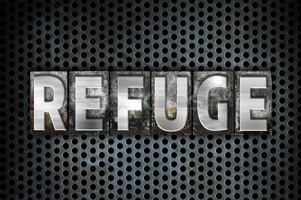 Refuge Concept Metal Letterpress Type Stock photo © enterlinedesign