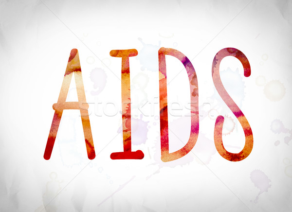 AIDS Concept Watercolor Word Art Stock photo © enterlinedesign
