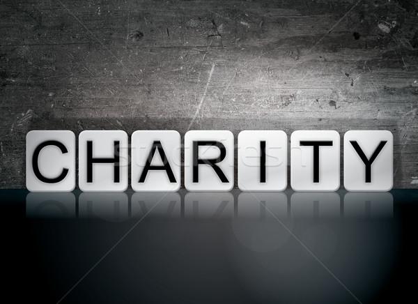 Dobroczynność taflowy litery słowo napisany biały Zdjęcia stock © enterlinedesign