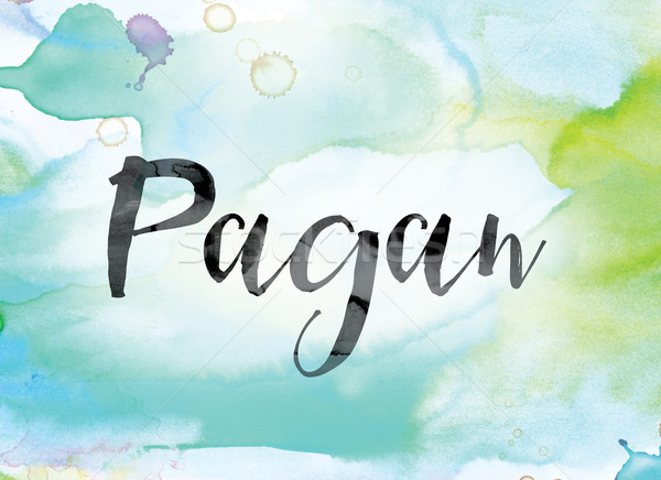 Pagan Colorful Watercolor and Ink Word Art Stock photo © enterlinedesign