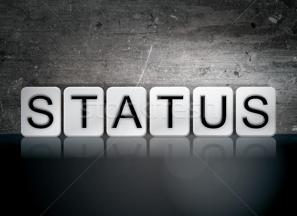 Stato piastrellato lettere parola scritto bianco Foto d'archivio © enterlinedesign