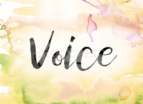 Voice Colorful Watercolor and Ink Word Art Stock photo © enterlinedesign