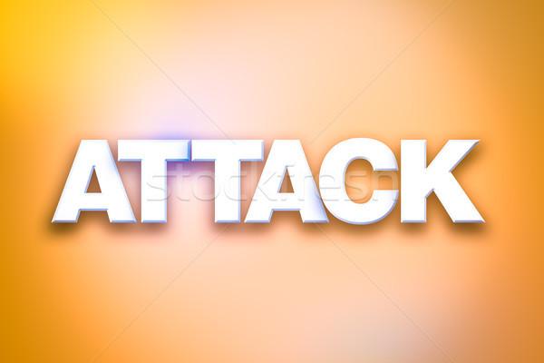 Saldırı kelime sanat renkli yazılı beyaz Stok fotoğraf © enterlinedesign