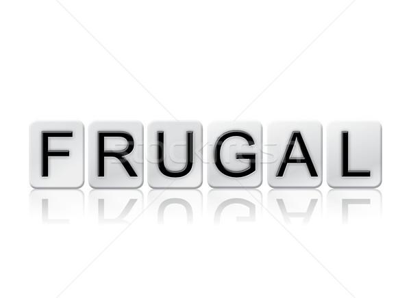 Zuinig betegelde woord geïsoleerd witte geschreven Stockfoto © enterlinedesign