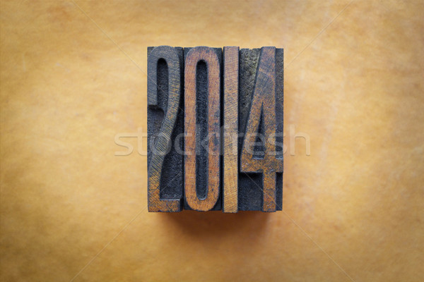 2014 ano escrito vintage cartas Foto stock © enterlinedesign