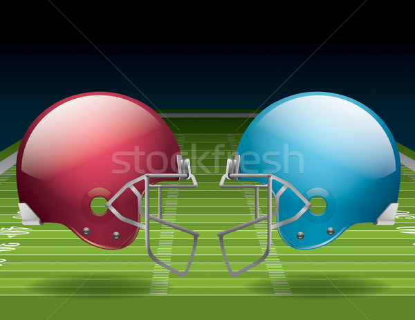 Stock photo: American Football Field and Helmets