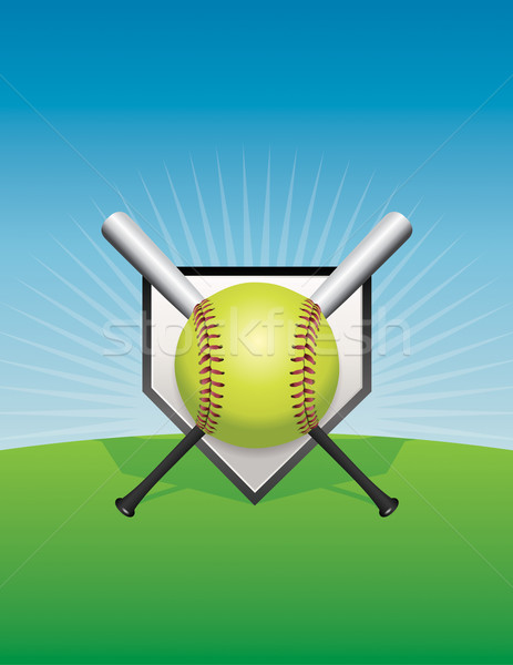 Softball illustrazione vettore eps 10 file Foto d'archivio © enterlinedesign