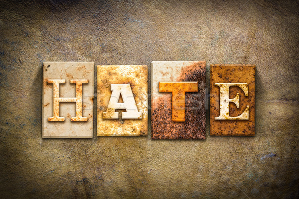 Hate Concept Letterpress Leather Theme Stock photo © enterlinedesign