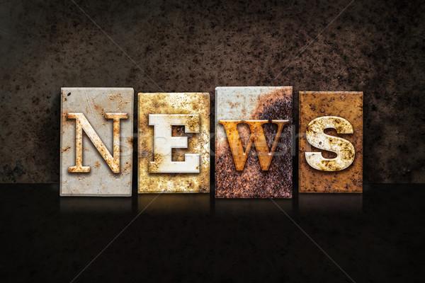 News Letterpress Concept on Dark Background Stock photo © enterlinedesign