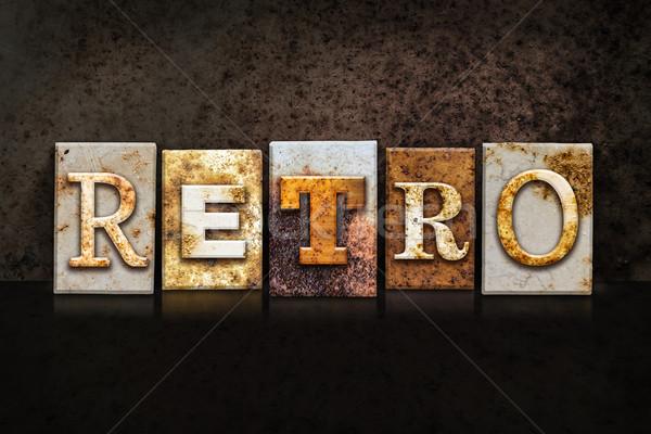 Retro Letterpress Concept on Dark Background Stock photo © enterlinedesign