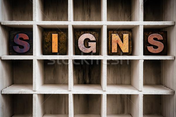 Feliratok fából készült magasnyomás fiók szó Stock fotó © enterlinedesign