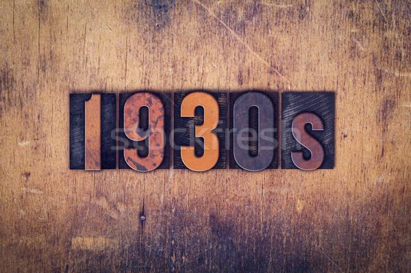 1930 bois type mot écrit Photo stock © enterlinedesign