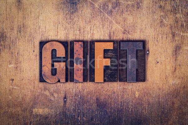 ストックフォト: ギフト · 木製 · タイプ · 言葉 · 書かれた