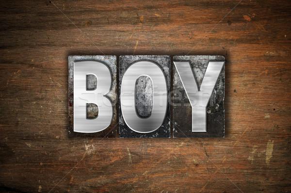 Boy Concept Metal Letterpress Type Stock photo © enterlinedesign