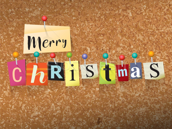 Merry Christmas Pinned Paper Concept Illustration Stock photo © enterlinedesign