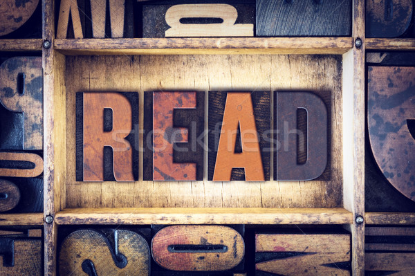 Read Concept Letterpress Type Stock photo © enterlinedesign