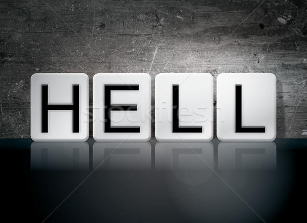 Hell Tiled Letters Concept and Theme Stock photo © enterlinedesign