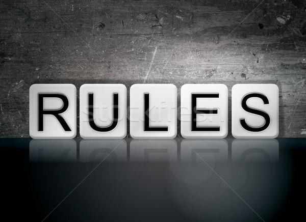Zasady taflowy litery słowo napisany biały Zdjęcia stock © enterlinedesign