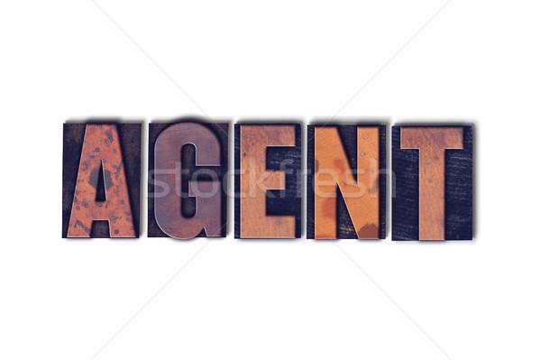 агент изолированный слово написанный Vintage Сток-фото © enterlinedesign