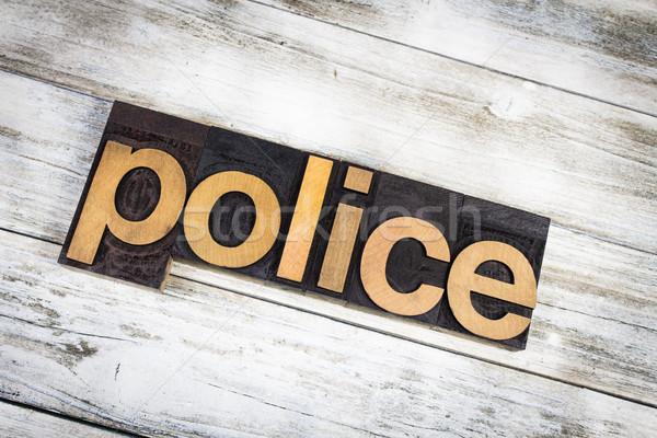 полиции слово написанный тип Сток-фото © enterlinedesign