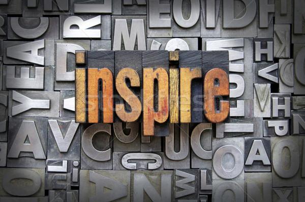 Inspirer écrit vintage type design Photo stock © enterlinedesign