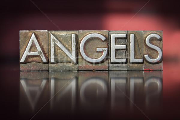 Stockfoto: Engelen · woord · geschreven · vintage · type