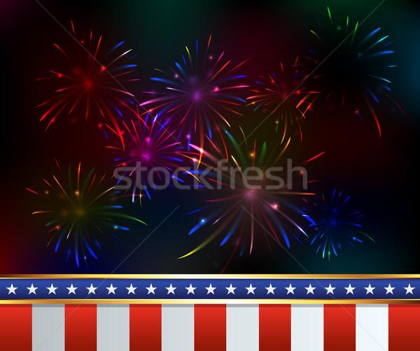 Dördüncü havai fişek örnek amerikan gün vektör Stok fotoğraf © enterlinedesign