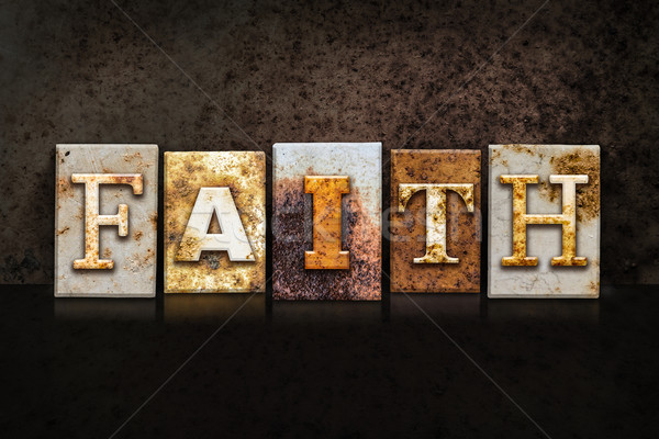 Faith Letterpress Concept on Dark Background Stock photo © enterlinedesign