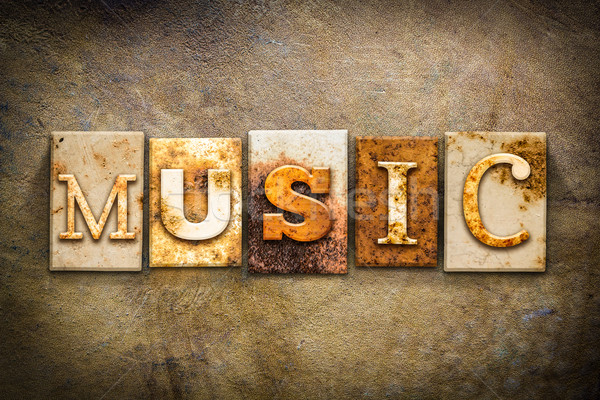 Music Concept Letterpress Leather Theme Stock photo © enterlinedesign