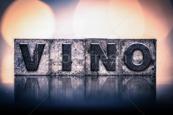 Wine Concept Vintage Letterpress Type Stock photo © enterlinedesign