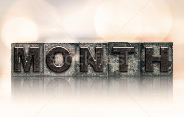 Hónap klasszikus magasnyomás szó írott Stock fotó © enterlinedesign