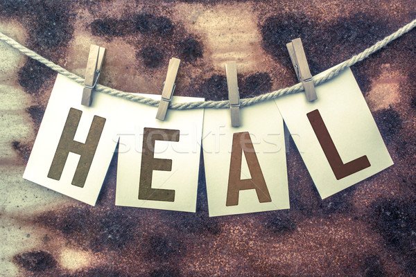 Heal Concept Pinned Stamped Cards on Twine Theme Stock photo © enterlinedesign