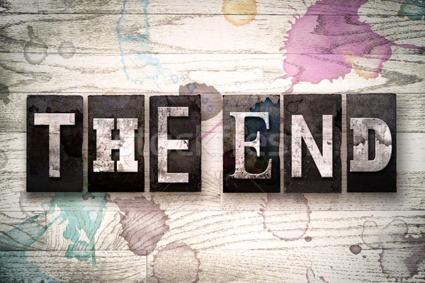 The End Concept Metal Letterpress Type Stock photo © enterlinedesign
